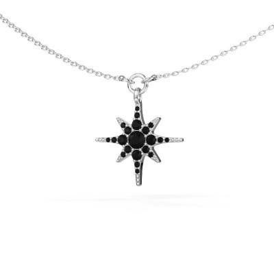 Halsketting Star 585 witgoud zwarte diamant 0.348 crt