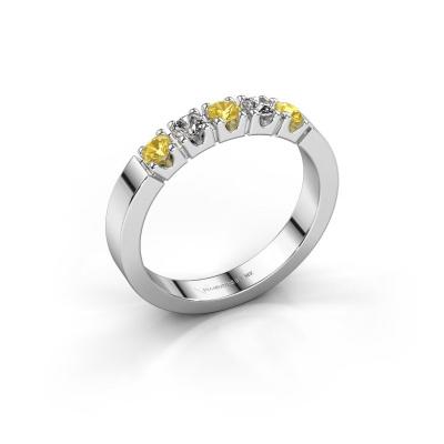 Engagement ring Dana 5 585 white gold yellow sapphire 3 mm