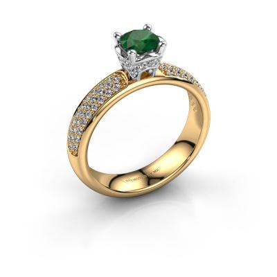 Aanzoeksring Ecrin 585 goud smaragd 5 mm