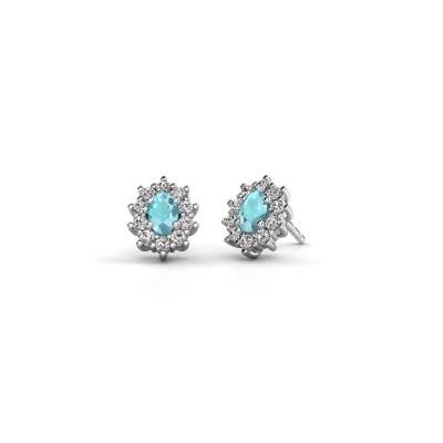 Picture of Earrings Leesa 950 platinum blue topaz 6x4 mm