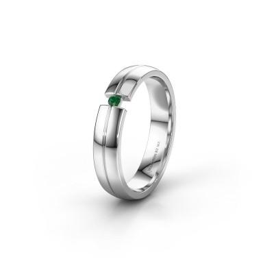 Trouwring WH0254L24X 585 witgoud smaragd ±4x1.5 mm