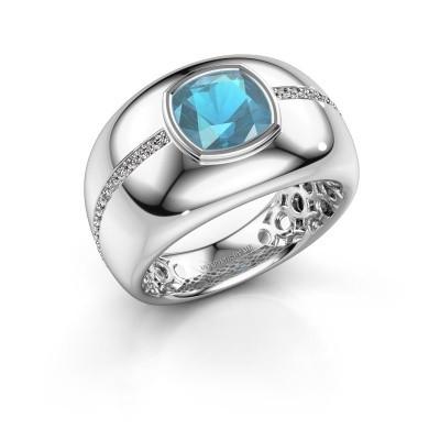 Foto van Ring Sydney 950 platina blauw topaas 7.5 mm