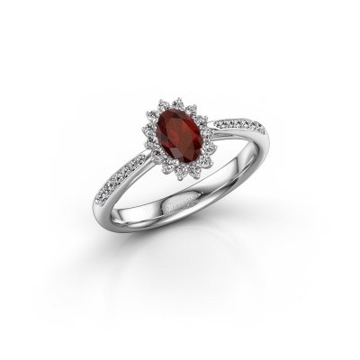 Picture of Engagement ring Tilly ovl 2 925 silver garnet 6x4 mm