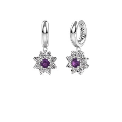Drop earrings Geneva 1 585 white gold amethyst 4.5 mm