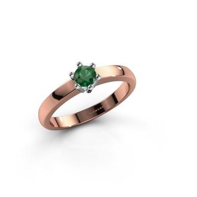 Verlovingsring Luna 1 585 rosé goud smaragd 3.7 mm
