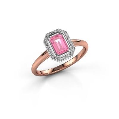 Verlovingsring Noud 1 EME 585 rosé goud roze saffier 6x4 mm