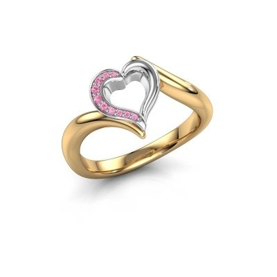 Ring Katlyn 585 goud roze saffier 0.8 mm