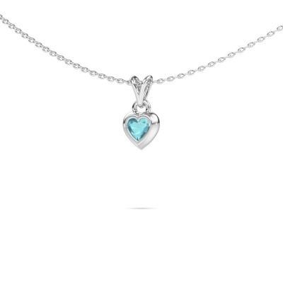 Foto van Hanger Charlotte Heart 375 witgoud blauw topaas 4 mm