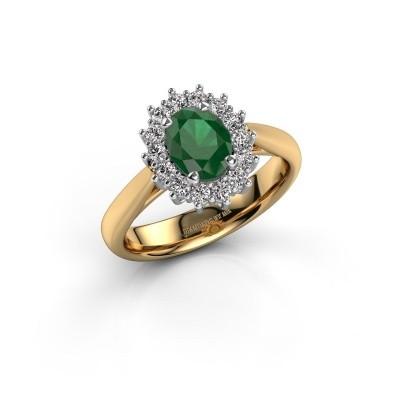 Foto van Verlovingsring Margien 1 585 goud smaragd 7x5 mm