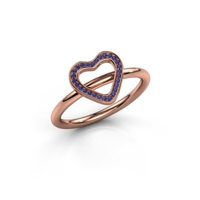 Ring Shape heart large 585 rosé goud saffier 0.8 mm