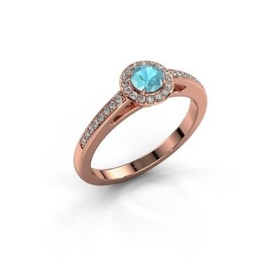 Engagement ring Aaf 375 rose gold blue topaz 4.2 mm