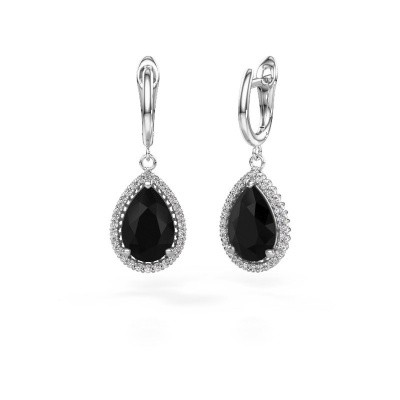 Drop earrings Hana 1 950 platinum black diamond 7.62 crt