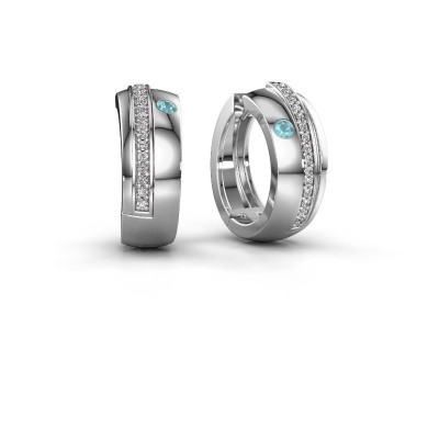Picture of Hoop earrings Shakita 585 white gold blue topaz 2 mm