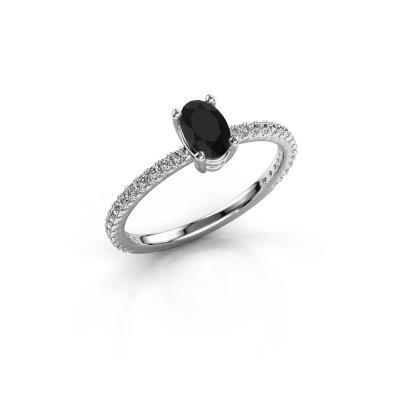 Verlovingsring Lynelle 2 925 zilver zwarte diamant 0.60 crt
