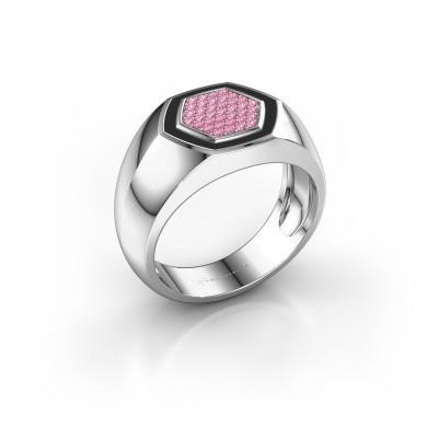Heren ring Kris 925 zilver roze saffier 1.1 mm