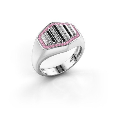 Foto van Heren ring Beau 585 witgoud roze saffier 1 mm
