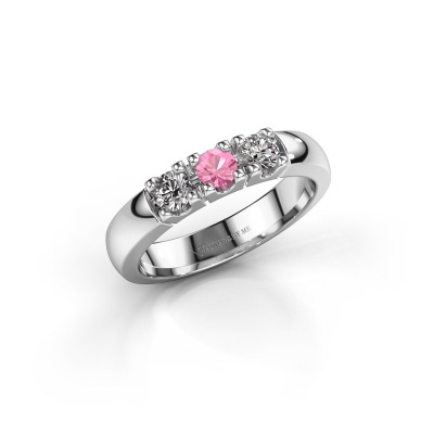 Picture of Engagement ring Rianne 3 950 platinum pink sapphire 3.4 mm