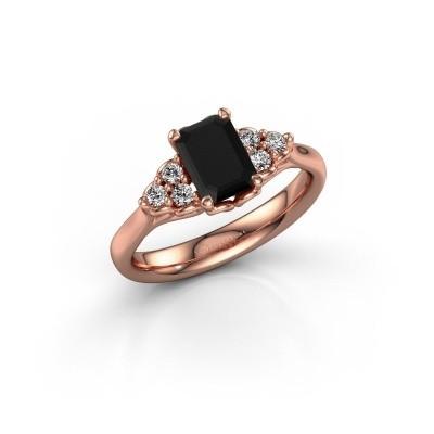 Foto van Aanzoeksring Myrna EME 375 rosé goud zwarte diamant 1.530 crt