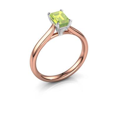 Verlovingsring Mignon eme 1 585 rosé goud peridoot 6.5x4.5 mm