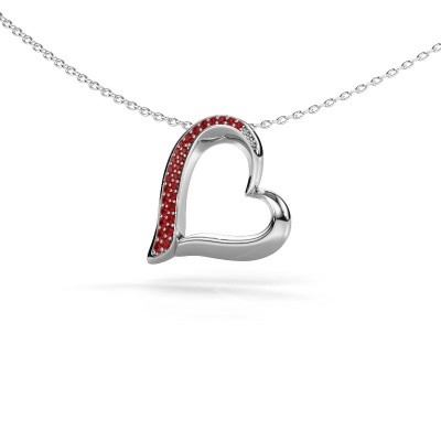 Collier Heart 1 585 or blanc rubis 1.2 mm