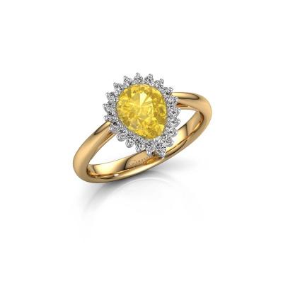 Foto van Verlovingsring Tilly per 1 585 goud gele saffier 8x6 mm