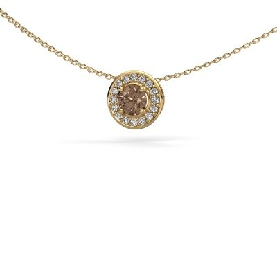 Hanger Agaat 375 goud bruine diamant 0.66 crt