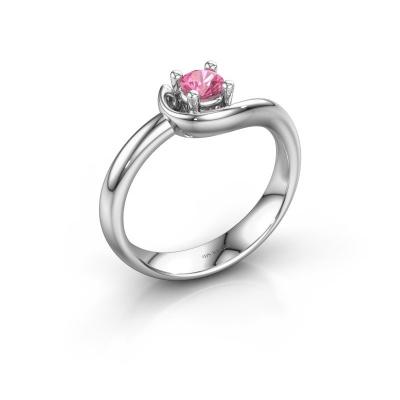 Ring Lot 925 zilver roze saffier 4 mm