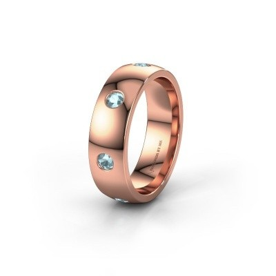 Wedding ring WH0105L26BP 375 rose gold aquamarine ±6x2 mm