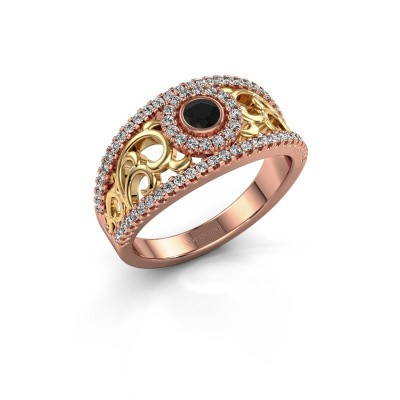 Foto van Ring Lavona 585 rosé goud zwarte diamant 0.53 crt