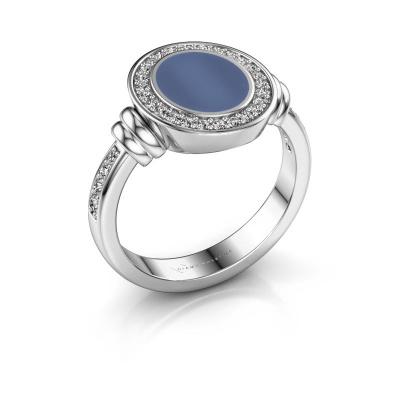 Zegelring Bailey 925 zilver blauw lagensteen 10x8 mm