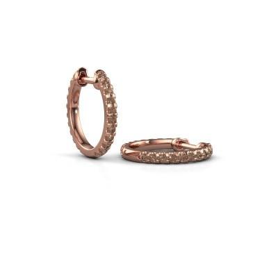 Foto van Creolen Jackie 12.5 mm A 375 rosé goud bruine diamant 0.63 crt