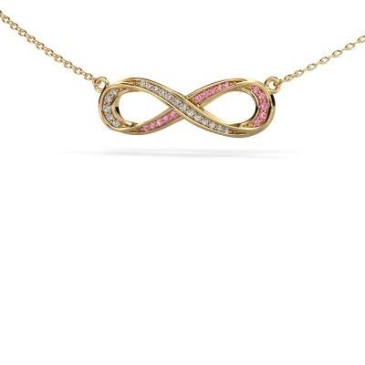 Collier Infinity 2 375 goud roze saffier 0.8 mm