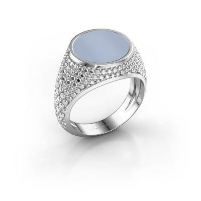 Foto van Zegelring Zachary 2 925 zilver licht blauwe lagensteen 12 mm