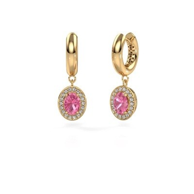 Oorhangers Annett 585 goud roze saffier 7x5 mm