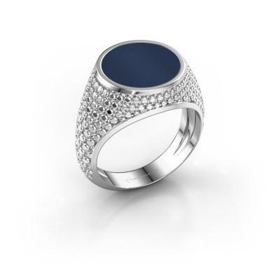 Zegelring Zachary 2 375 witgoud donker blauw lagensteen 12 mm