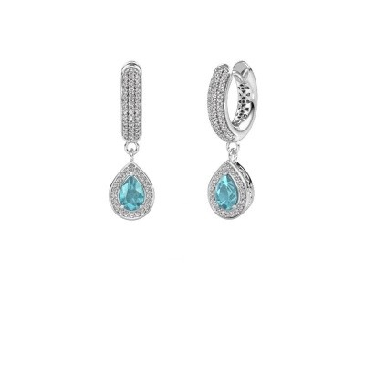 Picture of Drop earrings Barbar 2 950 platinum blue topaz 6x4 mm