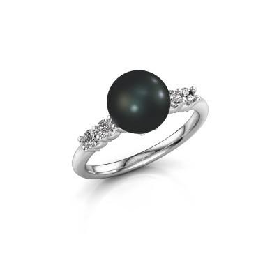 Foto van Ring Cecile 585 witgoud zwarte parel 8 mm