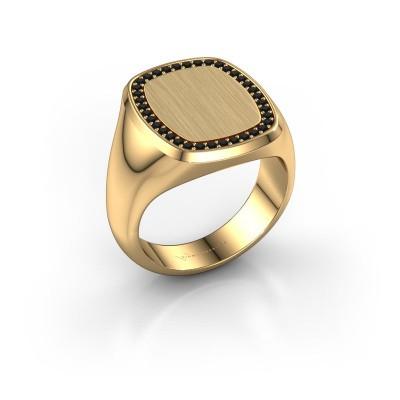 Foto van Heren ring Floris Cushion 4 585 goud zwarte diamant 0.333 crt