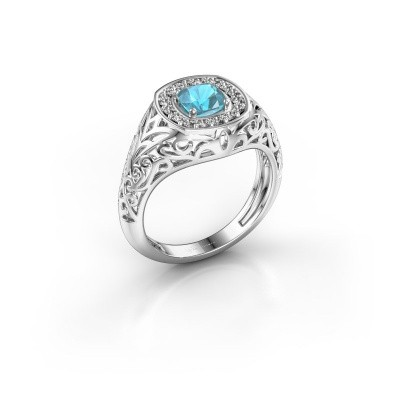 Men's ring Quinten 925 silver blue topaz 5 mm