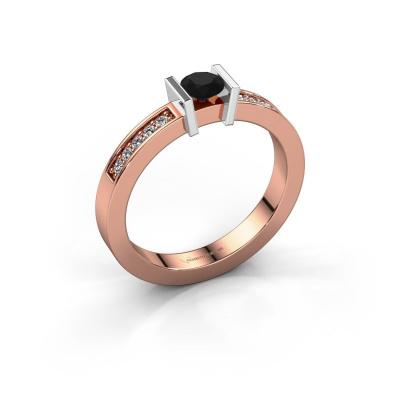 Aanzoeksring Maryam 585 rosé goud zwarte diamant 0.40 crt