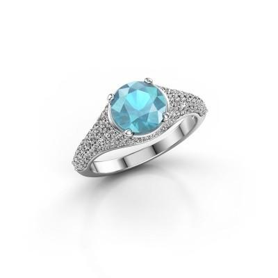 Foto van Ring Lovella 950 platina blauw topaas 7 mm