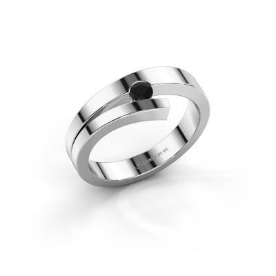 Foto van Ring Rosario 585 witgoud zwarte diamant 0.12 crt