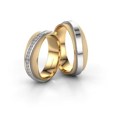 Foto van Huwelijksringen set WH2126LM ±6x1.7 mm 14 karaat goud diamant 0.328 crt
