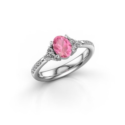 Foto van Verlovingsring Aleida 2 585 witgoud roze saffier 7x5 mm