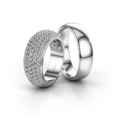 Foto van Trouwringen set WHR0306LM36AP ±8x3 mm 14 karaat witgoud diamant 0.008 crt