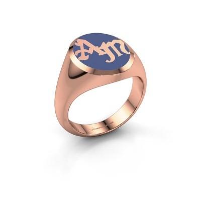 Foto van Monogram ring Brad Emaille 375 rosé goud