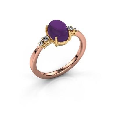 Ring Jelke 585 rosé goud amethist 8x6 mm
