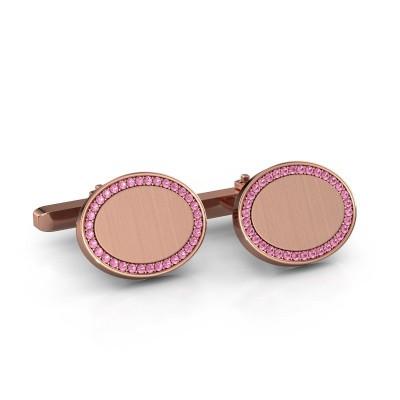Foto van Manchetknopen Richano 375 rosé goud roze saffier 1.2 mm