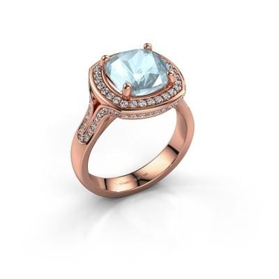 Ring Lili 375 rosé goud aquamarijn 9 mm