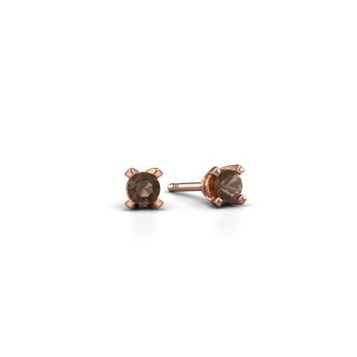 Picture of Stud earrings Isa 375 rose gold smokey quartz 3 mm